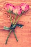 与弓的三朵老玫瑰 库存图片