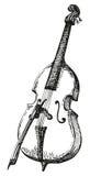 画与弓的传染媒介低音提琴 图库摄影