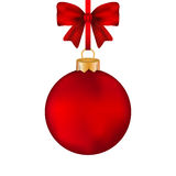 与弓的圣诞节红色球在磁带上 免版税库存照片