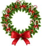与弓的圣诞节花圈 免版税库存照片