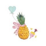与弓的在爱的菠萝和气球 免版税库存照片