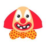 与弓的小丑愉快的动画片和没有牙的大微笑 向量例证