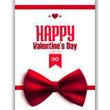 与弓的愉快的情人节闪烁明信片, 免版税库存图片