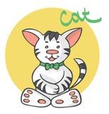 与弓的猫动画片 免版税库存图片