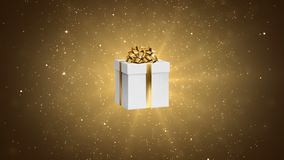 与弓的白色礼物在欢乐金背景 假日抽象圈动画 库存例证