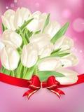 与弓的白色郁金香 10 eps 免版税库存照片