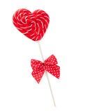 与弓的糖果心脏 库存图片