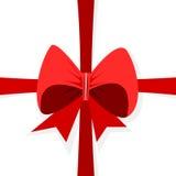 与弓的红色丝带在白色背景 免版税库存照片