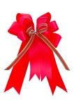 与弓的红色丝带 免版税库存照片