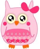 与弓的逗人喜爱的小的浅粉红色猫头鹰 免版税图库摄影