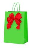 与弓的绿色购物袋 库存图片