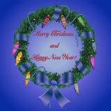 与弓Christm的圣诞节和新年wreath_2_braided丝带 库存例证