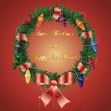 与弓Christm的圣诞节和新年wreath_1_braided丝带 向量例证