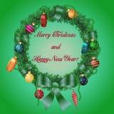 与弓Christm的圣诞节和新年wreath_3_braided丝带 库存例证