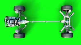 与引擎孤立的汽车底盘 非常快速驾驶 自动概念 绿色屏幕 现实4K动画 股票视频