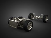 与引擎的汽车底盘 免版税库存照片