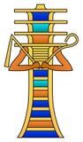 与弯曲处和连枷的Djed柱子 库存例证