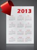 与弯曲的箭头的2013个日历设计 库存照片
