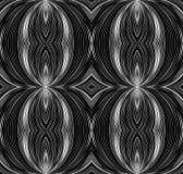 与弯曲的线的无缝的黑白纹理 免版税库存照片