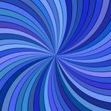 与弯曲的镶边光芒的蓝色催眠抽象螺旋背景 库存例证