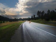 与弯曲道路和摩托车骑士的风景黑山日落 图库摄影