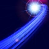 与弯的线的抽象未来派蓝色背景 库存照片