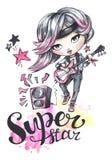 与弹吉他的女孩的水彩卡片 书法措辞超级星 免版税图库摄影