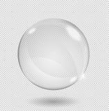 与强光和聚焦的大白色透明玻璃球形 仅透明度以传染媒介格式 库存例证