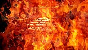 与强烈的火火焰的篝火 股票录像