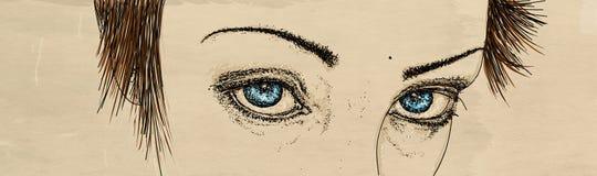 与强烈的看的妇女的眼睛的横幅 免版税图库摄影