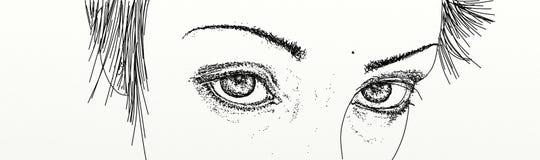 与强烈的看的妇女的眼睛的横幅 库存照片