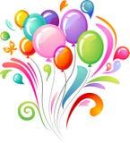 与当事人气球的五颜六色的飞溅 免版税库存图片