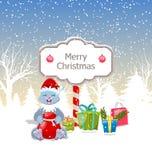 与当前箱子、圣诞老人袋子、Xmas和新年设计的圣诞节兔子 库存例证
