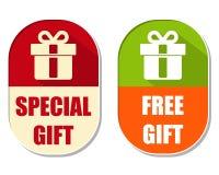 与当前箱子标志,两的特别和自由礼物省略labe 免版税库存照片
