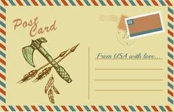 与当地美洲印第安人印第安战斧的葡萄酒明信片 库存例证