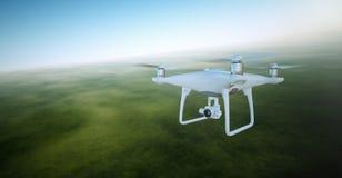 与录影行动照相机飞行天空的照片白色表面无光泽的普通设计空气寄生虫在地面下 动画片调遣绿色例证样式 免版税库存照片