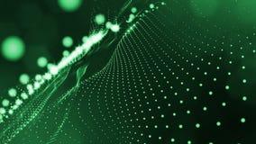 与形成波浪表面的摆动的光亮绿色微粒的黑暗的构成 使成环的光滑的动画 摘要 库存例证