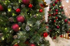 与彩色小灯和欢乐装饰,特写镜头的美丽的圣诞树 免版税库存照片