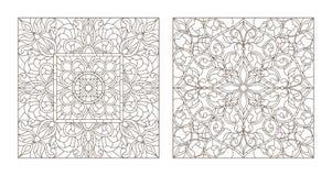 与彩色玻璃的例证的等高集合与摘要漩涡和花,方形的图象的 向量例证