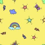 与彩虹、星、闪光、闪电和蝴蝶的无缝的样式在黄色背景 也corel凹道例证向量 印刷术设计 库存图片