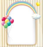 与彩虹和气球的一块空的模板 库存例证