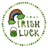 与彩虹和金壶的爱尔兰运气商标 在三叶草圈子框架  分级显示 印刷设计为圣帕特里克天 Savoyar 免版税库存图片