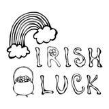 与彩虹和金壶的爱尔兰运气商标 在三叶草圈子框架  分级显示 印刷设计为圣帕特里克天 Savoyar 库存照片