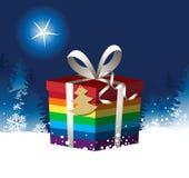 与彩虹圣诞礼物的圣诞节背景 皇族释放例证