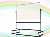 与彩虹天空的空白的校务委员会 免版税库存照片