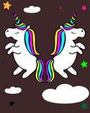 与彩虹头发传染媒介例证的独角兽孩子的设计 库存例证