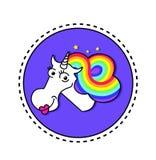 与彩虹头发和星的不可思议的独角兽在圈子的紫色背景 哄骗T恤杉的图表 独角兽传染媒介头画象 皇族释放例证