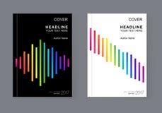 与彩虹小条的简单的普遍盖子设计书的 免版税库存照片
