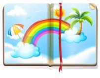 与彩虹的书在天空 库存例证