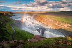 与彩虹的古佛斯瀑布瀑布 免版税库存图片